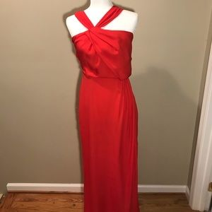 Parker Draped Selena Silk Evening Floor Gown Red 4